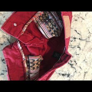 Amethyst Jeans Shorts - Amethyst Burgundy Red Cut Off Jean Shorts